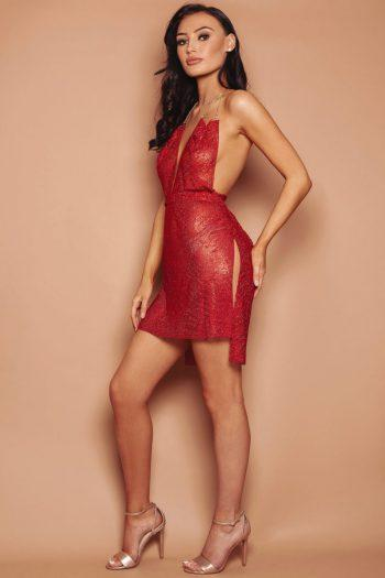 Diamante Dress in red Valentines day dresses collection Women's dress