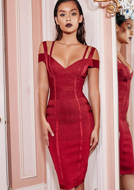 Mimi Wine off shoulder bandage dress