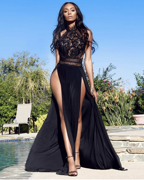 Lush super glamour maxi dress in Black