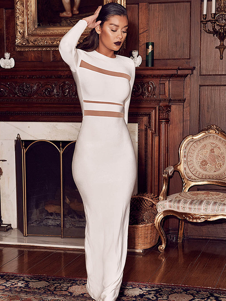 Costanse white bandage mesh maxi dress