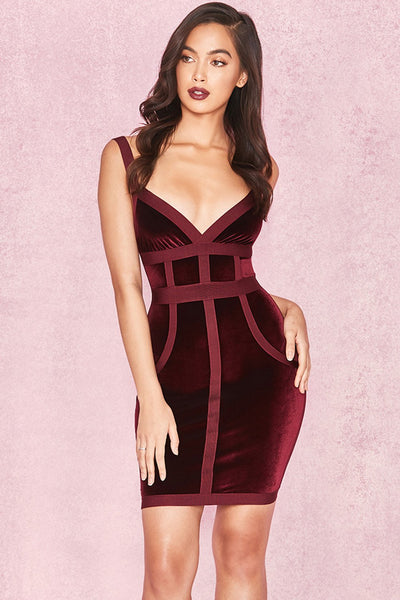 Carlen Mulberry Velvet & Bandage Cross BUST DRESS