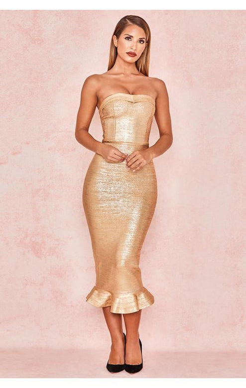 Hollywood Gold Bandage Hourglass Shape Dress