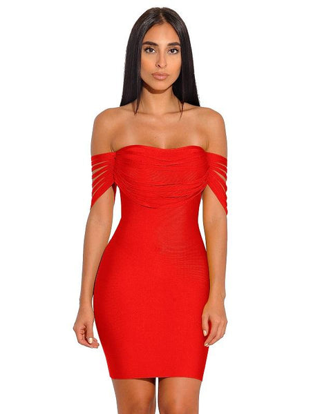 Pyria Red Fringe Off Shoulder Bandage Dress Valentine day 2019 dresses