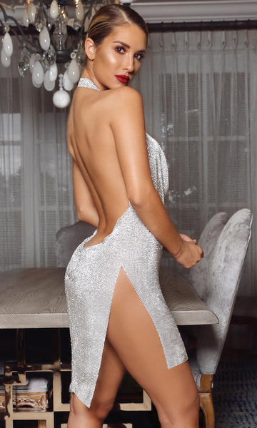 Kendall' Crystal Halter Dress- Silver or Gold