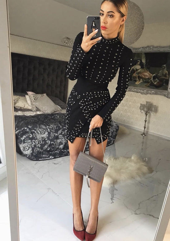 Grano Luxury Studed Black Mini Dress