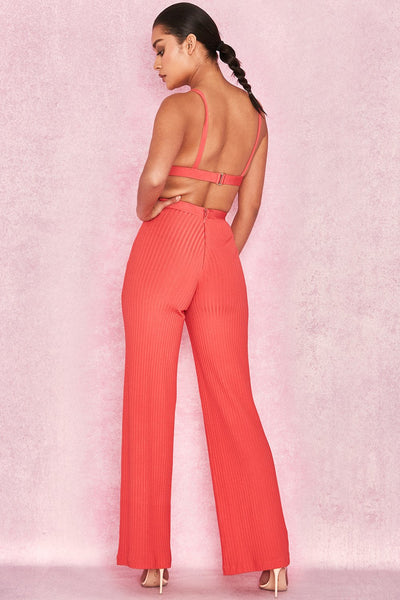 Imira Ribbed Coral bandage set FashionMiamiStyles bandage two piece