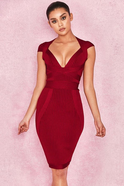 Wine Red Ribbed Cupped Dress& Famous cheap dresses