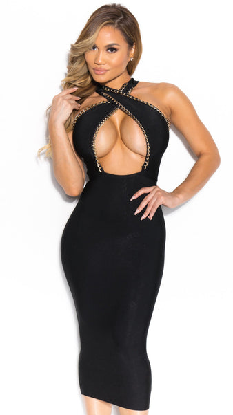 Sexy Hot Bandage Dress Black