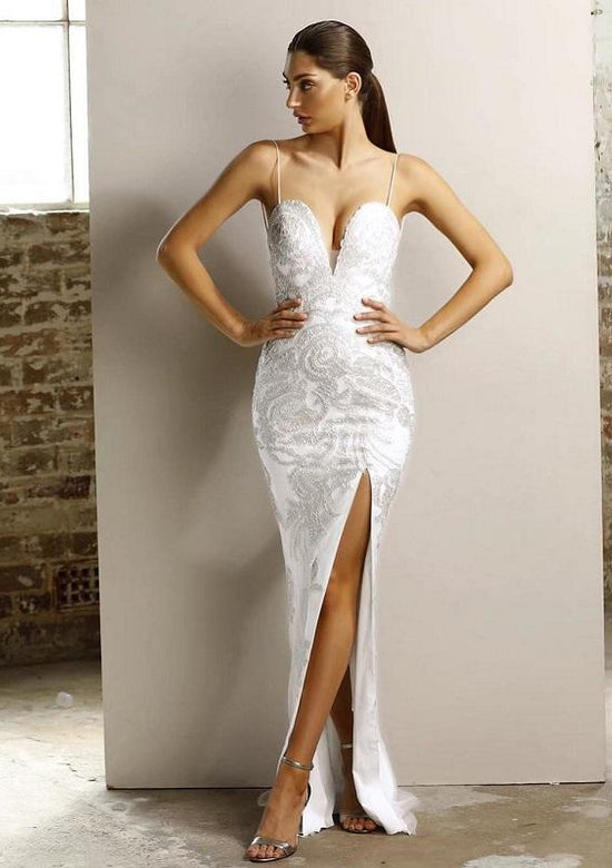 Safira White Sequined Luxury Maxi Dress