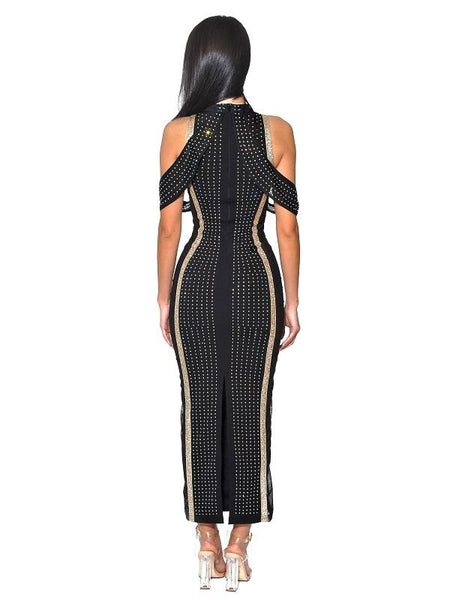 Gatsby Style Dress Shoulder Side Mesh Embellished Stretch Crepe D