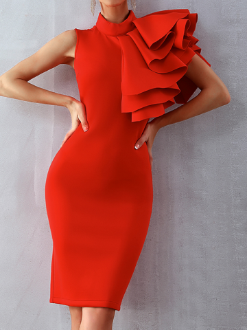 Ester Elegant Shoulder Detail Bandage Midi dress