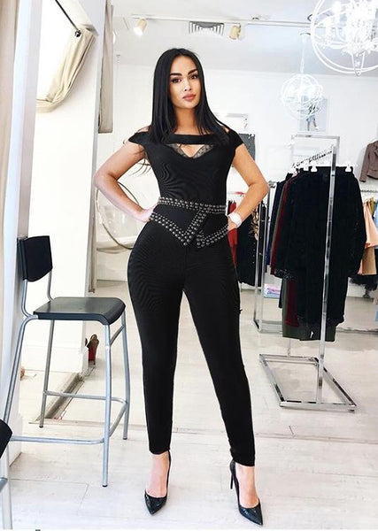 Darina Black Jumpsuit with Embellished Belt Night out Jumpsuits