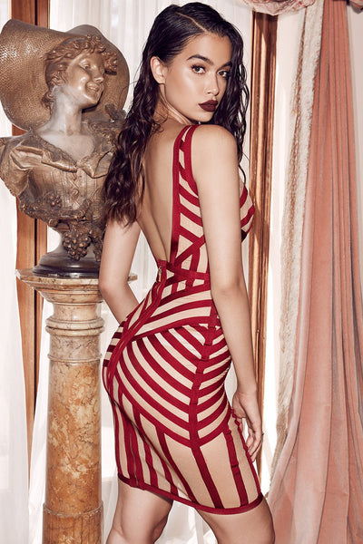 Angeles bandage and biege mesh dress