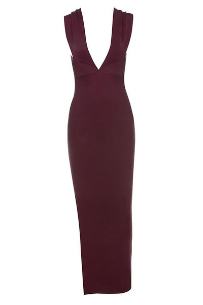 Plum Plunge Neck Maxi Dress Holiday 2018 dress Collection