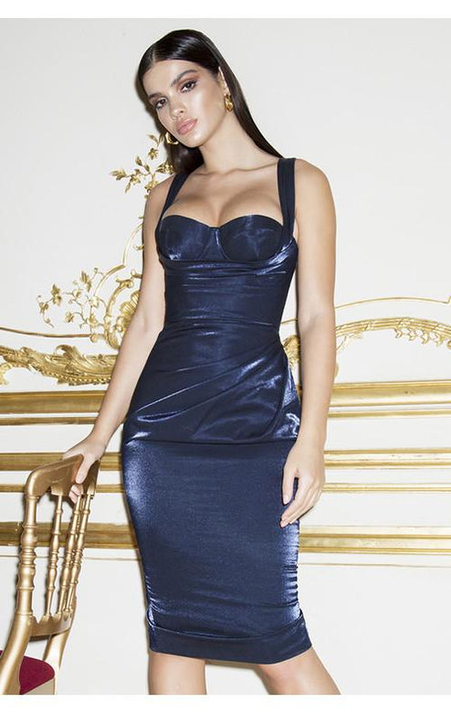 Lulu Satin Corset Elegant Midi Dress