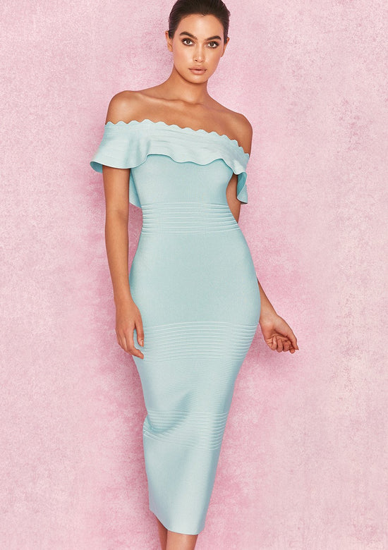 Amadea Sky Blue Off Shoulder Dress