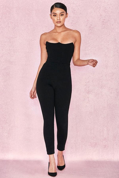 Black Corseted Jumpsuit Fashion Designer Jumpsuits Collection cheap
