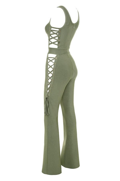 Greta Olive Bandage Jumpsuit with tie sides BB