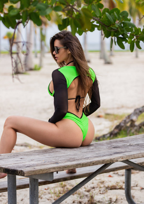 Sporty Neon Green Mesh Swimsuit