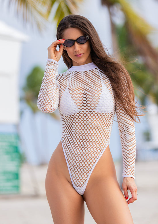 High Neck Fishnet Mesh One Piece In 5 Colors