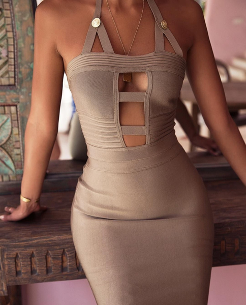 Lina Cut Out Bodycon Olive Miami Clubwear