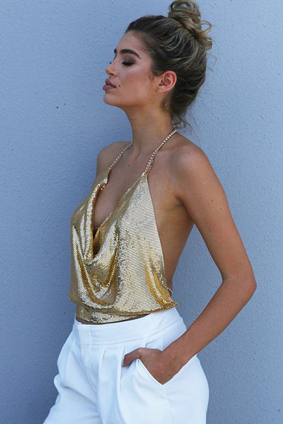 Metal Chain Top Sexy Gold Top Miami Fashion Styles
