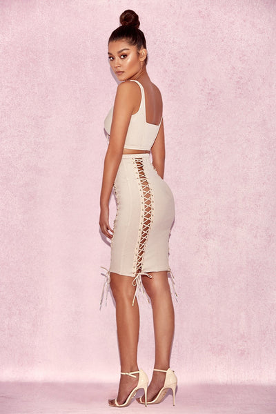 f87c6675c55 Nina Nude Ribbed Two Piece set with Lace Ups