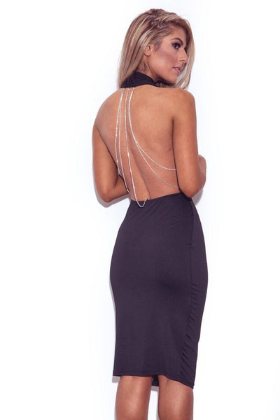 Black Chain Open Sexy Nude Back Dress