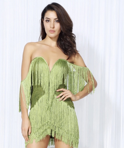 Olive Green Off Shoulders Tassel Party Dress