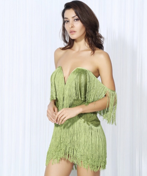 Olive Green Off Shoulders Tassel Miami Party Dress women'c clubwear