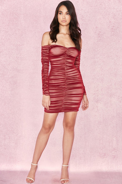 Fufi Red Wine Stretch Womens Bandage Dress | Fashion Miami Styles