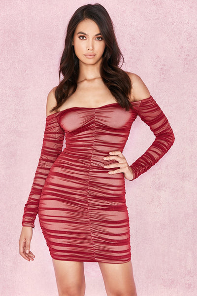 Wine Womens Bandage Dress