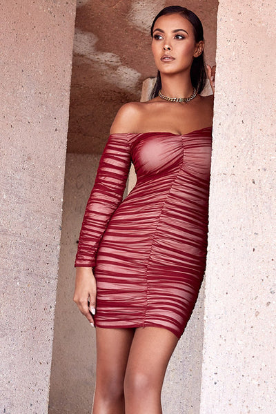 Fufi Red Wine Stretch Womens Bandage Dress