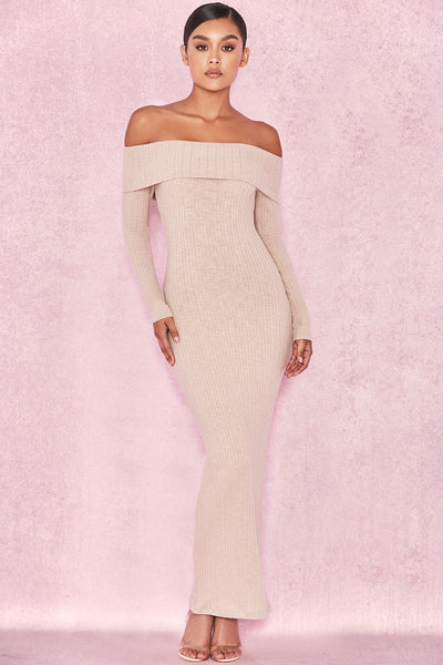 Anfisai Biscuit Ribbed Off Shoulder Dress