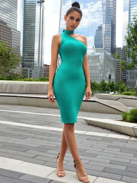 Choker Detail Aqua Blue Asymmetric Bandage Dress