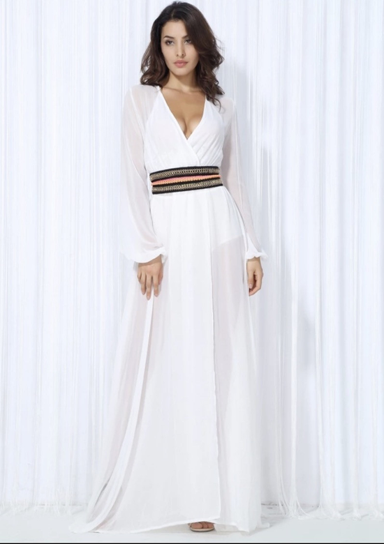 Simona white maxi dress with jeweled belt