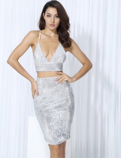 Elegant two piece set women's clubwear Miami design outfits for party