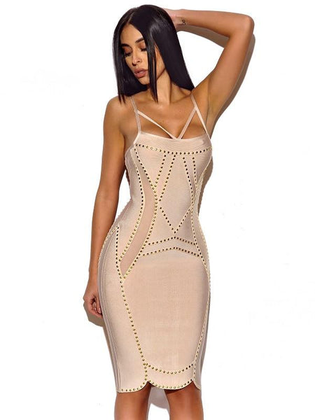 Dress With Gold Studded Hardware High Quality cheap bandage dresses