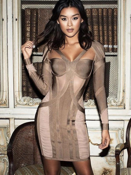 Rosliza Taupe Bodycon Bandage Dress | Fashion Miami Styles