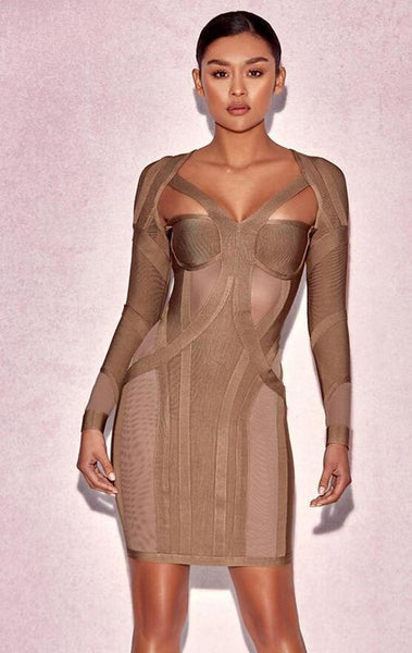 Rosliza Taupe Bodycon Bandage Dress