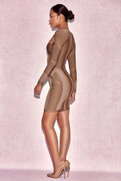 Rosliza Taupe Bodycon Bandage Dress  Fashion Styles