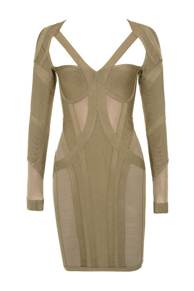 Rosliza Taupe Bodycon Bandage Dress Miami Styles