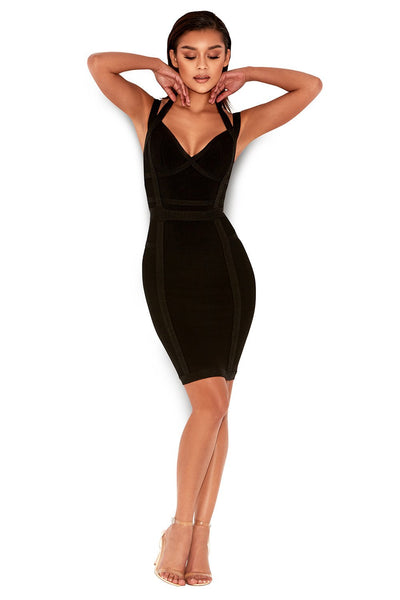 Darcy Black V Deep Bandage Bodycon Dress  Miami Styles