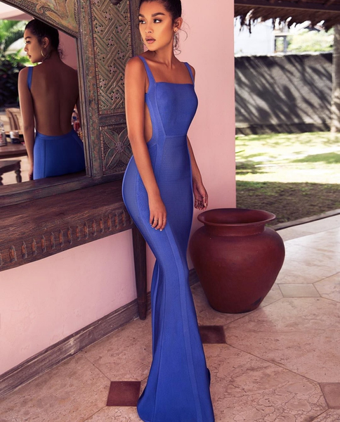 Ofelia Backless Bandage Open Side Blue Dress