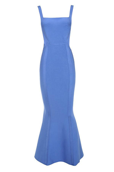 Bandage Open Side Blue Dress