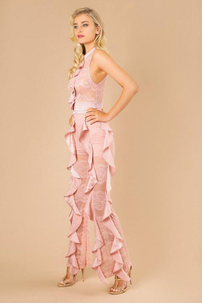 Ruffled Sheer Lace Jumpsuit Miami Design party collection