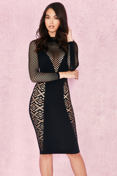 Sylvi Black Long Sleeve Open Knit DRESS