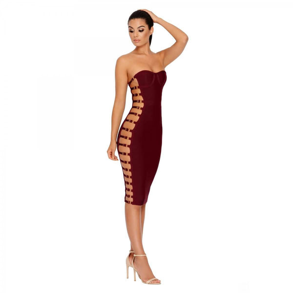 Marina Hollow Out Bandage Midi Dress