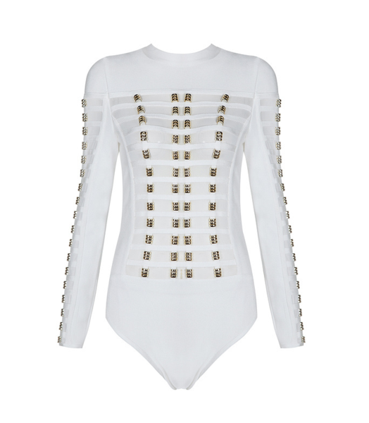 White Rose Gold Ring Caged Long Sleeves Bodysuit