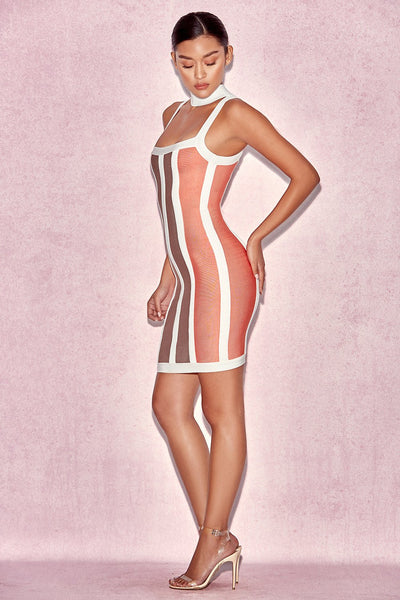SHAH ORANGE, COFFEE & WHITE HALTER BANDAGE DRESS